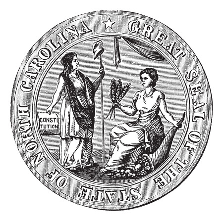 great seal: Grande sigillo o segno distintivo di North Carolina incisione vintage. Old illustrazione incisa della Grande sigillo del North Carolina.