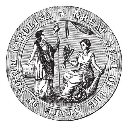 Great seal or hallmark of North Carolina vintage engraving. Old engraved illustration of the Great seal of North Carolina. Illustration