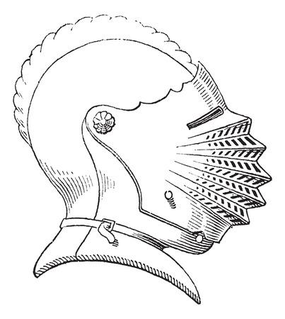 antiquity: Fifteenth century helmet or galea vintage engraving. Old engraved illustration of helmet worn during the fifteenth century.