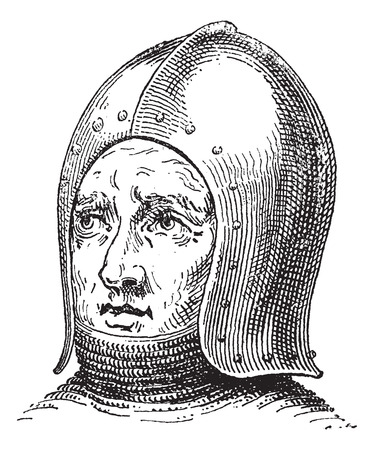 antiquities: Sallet or Schaller or war helmet or galea vintage engraving. Old engraved illustration of war helmet.