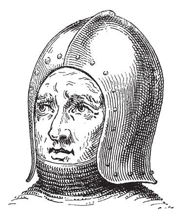 Sallet or Schaller or war helmet or galea vintage engraving. Old engraved illustration of war helmet.