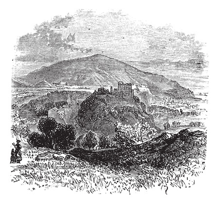 commune: Countryside view of Castellammare di Stabia vintage engraving. Old engraved illustration of countryside view of Castellammare di Stabia. Illustration