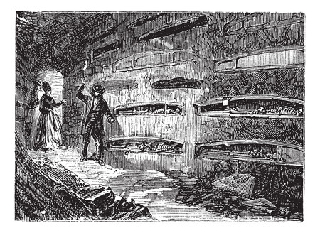 palaeolithic: Catacombes and Saint Thraso Saint Saturninus or ossuary, Rome, Italy vintage engraving. Old engraved illustration of catacombes and Saint Thraso Saint Saturninus, 1890s.