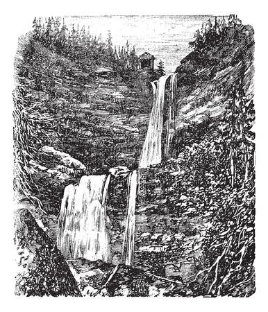 Catskill o Kaaterskill Falls grabado de la vendimia. Ilustración del Antiguo grabado de hermosas cascadas Catskill. Foto de archivo - 37716591