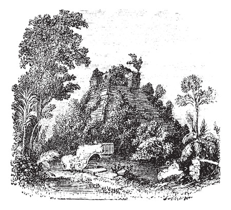 chichen: The castillo at Chichen Itza, in Yucatan, Mexico, vintage engraving. Old engraved illustration of the Castle at Chichen Itza. Illustration