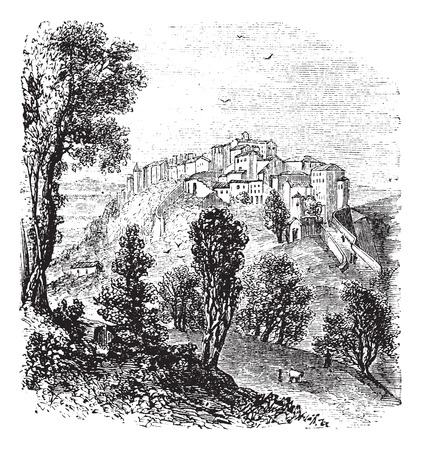 Chiusi in Tuscany, Italy, during the 1890s, vintage engraving. Old engraved illustration of Chiusi.
