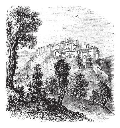 Chiusi in Toscana, Italia, durante il 1890, incisione vintage. Old illustrazione incisa di Chiusi. Archivio Fotografico - 37716722
