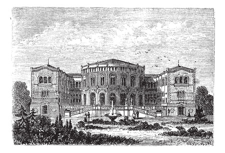 parliament: Storting or Parliament of Norway, in Oslo, Norway, during the 1890s, vintage engraving. Old engraved illustration of Storting.