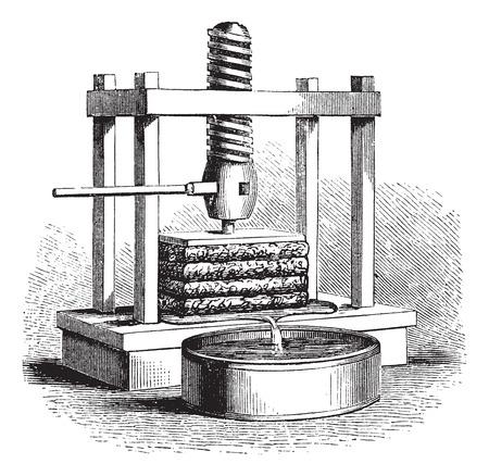 Cider Press, vintage engraving. Old engraved illustration of a Cider Press. Vectores