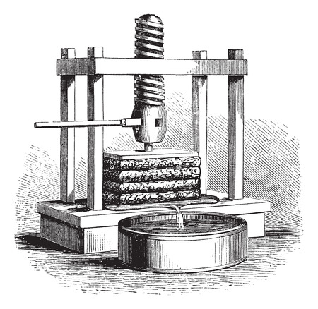 Cider Press, vintage engraving. Old engraved illustration of a Cider Press. Ilustracja