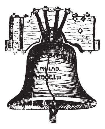 Liberty Bell, Filadelfia, Pensylwania, USA, grawerowania rocznika. Stary wygrawerowane ilustracja z Liberty Bell pokazując pęknięcia.