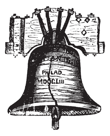 declaration: Liberty Bell, in Philadelphia, Pennsylvania, USA, vintage engraving. Old engraved illustration of the Liberty Bell showing crack.