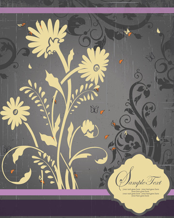 scratch card: Vintage invitation card with ornate elegant retro abstract floral design, beige and dark gray flowers and leaves on scratch textured gray background with stripes and plaque text label. Vector illustration.