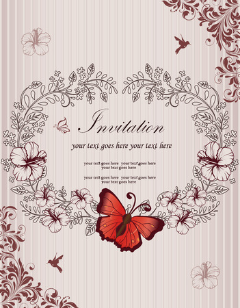 reddish: Vintage invitation card with ornate elegant retro abstract floral design, reddish brown and black flowers and leaves on striped light gray background with butterfly birds and text label. Vector illustration.