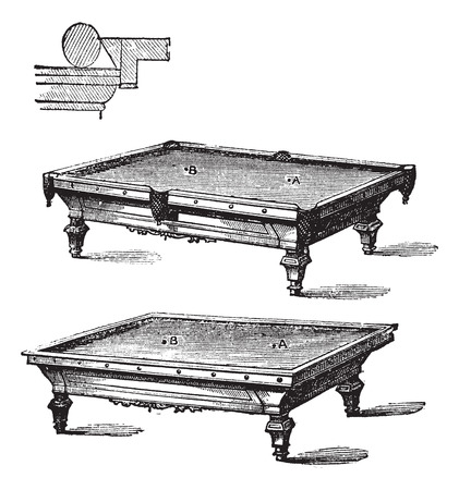 six objects: Billiard table and Carom billiards, tables, vintage engraved illustration of Billiard table and Carom billiards, tables, isolated on a white background.