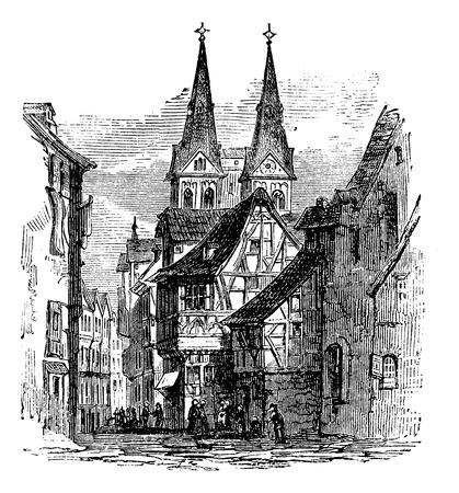 Boppard town in  Rhein-Hunsruck-Kreis, Rhineland-Palatinate, Germany, old engraved illustration of the  town, Boppard, Rhein-Hunsruck-Kreis, Germany, 1890s. Ilustrace