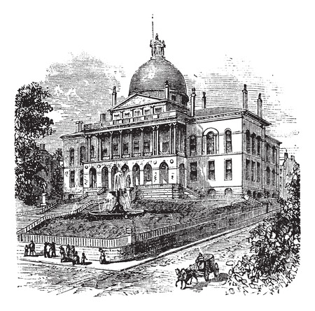 State House or Massachusetts State House or The New State House, Beacon Hill, Boston, Massachusetts, USA vintage engraving.  Old engraved illustration of building exterior Vector