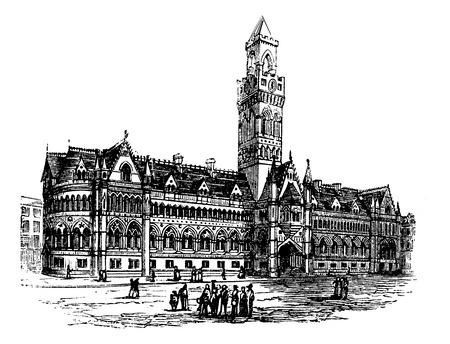 yorkshire: Bradford City Hall,  Bradford, West Yorkshire, United Kingdom vintage engraving. Old engraved illustration of Bradford City Hall,  United Kingdom, 1890s.