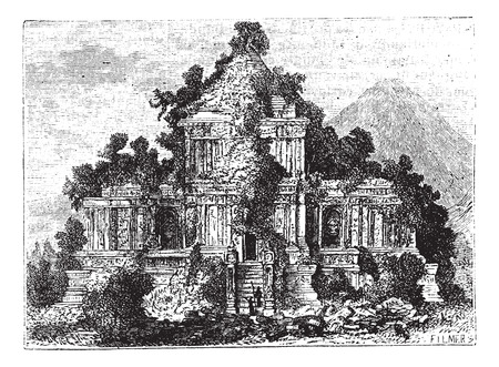 an island tradition: The large Temple at Brambanan, Indonesia, old engraved illustration of the large Temple at Brambanan, Indonesia, 1890s.