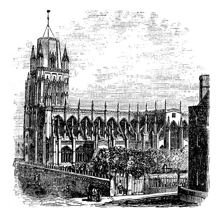 Saint Mary Redcliffe - Anglican church in Bristol, England (United Kingdom). Vintage Engraving from 1890s. Old engraved illustration of the Saint-Mary Redcliffe. Vectores