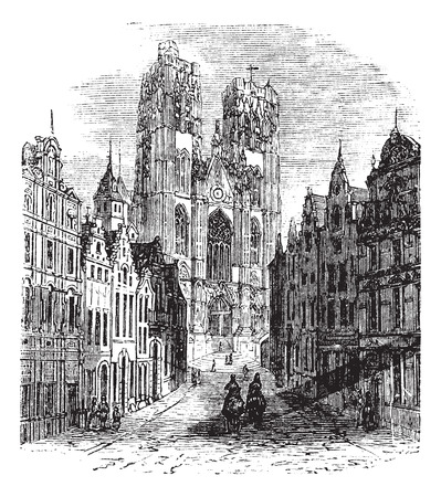 The Church Saint-Gudula of Brussels, Belgium. Vintage engraving. Old engraved illustration of a Roman Catholic church at the Treurenberg hill in Brussels, Belgium.