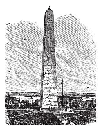 erected: Bunker Hill Monument, Charlestown, Massachusetts, old engraved illustration of Bunker Hill Monument, Charlestown, Massachusetts, 1890s.