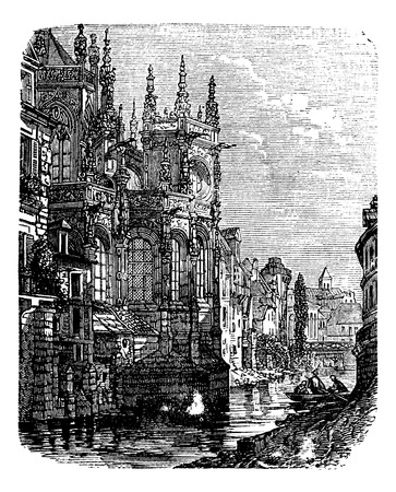 normandy: Church of Saint-Pierre, Caen, Normandy, France. Old engraved illustration of Saint-Pierre, Church , Normandy, France, 1890s.