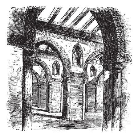 ibn: Ahmad Ibn  Tulun, Mosque, ruins, Cairo, Egypt, old engraved illustration of Ahmad Ibn Tulun, Mosque,  Cairo, Egypt, 1890s.