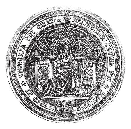 Seal Of Canada vintage engraving vintage illustration. Old engraved illustration of the Great seal of canada. Illustration