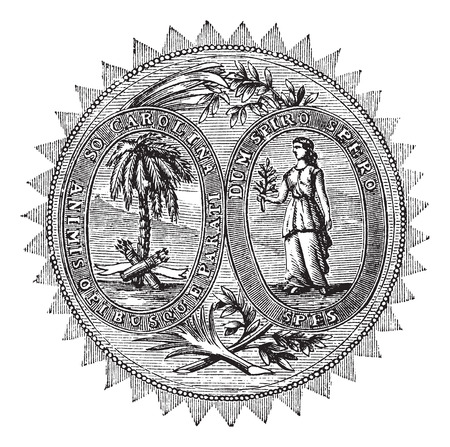 great seal: Grande sigillo o segno distintivo di South Carolina incisione vintage. Old illustrazione incisa della Grande tenuta di South Carolina.