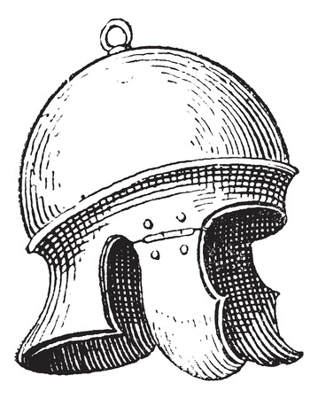 conqueror: Roman legionnaires helmet or galea vintage engraving. Old engraved illustration of legionnaires helmet. Illustration