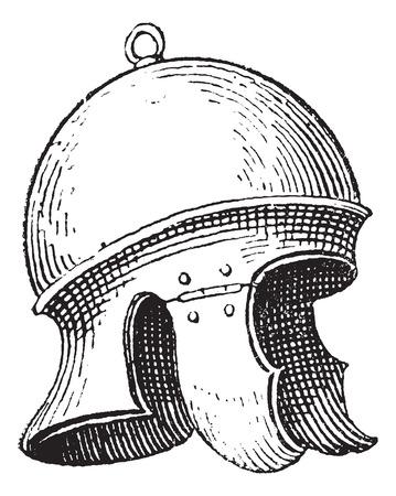 antiquities: Roman legionnaires helmet or galea vintage engraving. Old engraved illustration of legionnaires helmet. Illustration