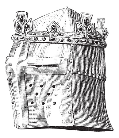 black and white image: Helmet or galea worn by Louis IX in the battle of the Massoure vintage engraving. Old engraved illustration of helmet worn by Louis IX.