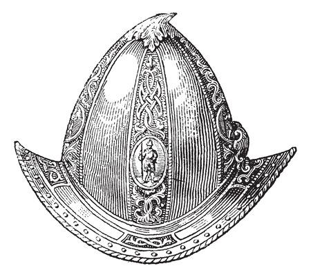 Cabaset peaked or helmet or galea vintage engraving, Old engraved illustration of peaked cabaset. Illustration