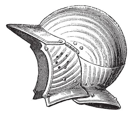 antiquities: Pot head or helmet or galea vintage engraving. Old engraved illustration of ancient helmet.