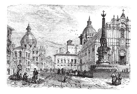 obelisk: The Elephant fountain,Catania vintage engraving. Old engraved illustration of Catania the obelisk of the fountain elephant and cathedral.