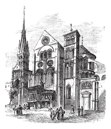 popular belief: Notre-Dame-en-Vaux church, Chalons-en-Champagne, France vintage engraving. Old engraved illustration of Notre-Dame-en-Vaux church exterior.
