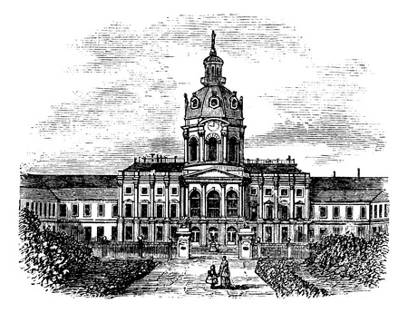 second world war: Charlottenburg Royal Palace, in Berlin, Germany, during the 1890s, vintage engraving. Old engraved illustration of Charlottenburg Palace. Illustration