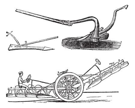 arando: Plough, el grabado de época. Ilustración del Antiguo grabado varios tipos de arados. Vectores