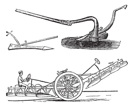 plowed: Plough, vintage engraving. Old engraved illustration of several types of Ploughs.