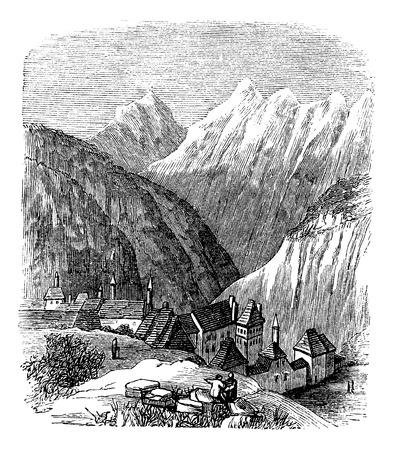 La Grande Chartreuse, in de regio Rhône-Alpes, Frankrijk, tijdens de jaren 1890, vintage graveren. Oude gegraveerde afbeelding van de Grande Chartreuse.
