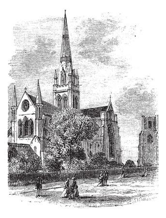 1890 년대 동안 치 체스터 대성당 또는 서 섹스, 영국, 삼위 일체의 성당 교회, 빈티지 조각. 오래 치 체스터 대성당의 그림을 새겨 져.