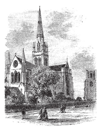 Chichester Cathedral or Cathedral Church of the Holy Trinity, in Sussex, England, during the 1890s, vintage engraving. Old engraved illustration of Chichester Cathedral. Vector