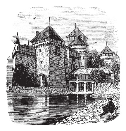 chateau: Chillon Castle or Chateau de Chillon in Veytaux, Switzerland, during the 1890s, vintage engraving. Old engraved illustration of a man sitting in front of Chillon Castle, looking at Lake Geneva Illustration