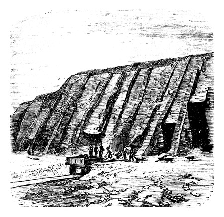 nitrate: Guano quarry, Chincha Islands in Peru, during the 1890s, vintage engraving Illustration