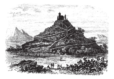 archaeological: Great Pyramid of Cholula or Tlachihualtepetl in Puebla, Mexico, during the 1890s, vintage engraving. Old engraved illustration of the Great Pyramid of Cholula.