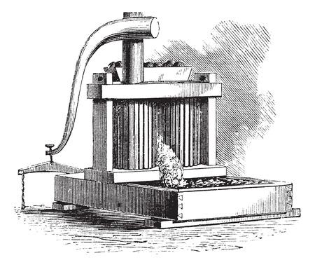 crushing: Cider Mill, vintage engraving. Old engraved illustration of a Cider Mill.