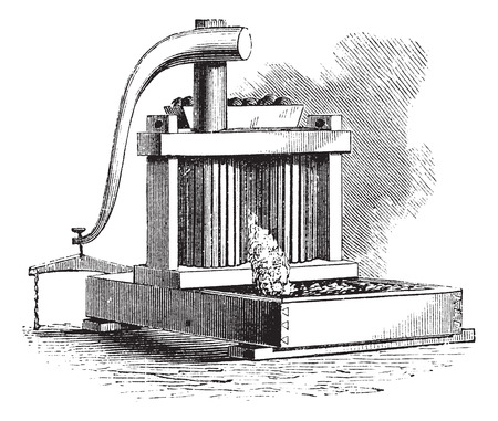 Cider Mill, vintage engraving. Old engraved illustration of a Cider Mill.