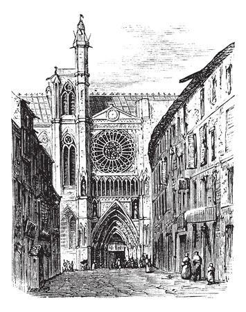 Clermont-Ferrand Cathedral, in Auvergne, France, during the 1890s, vintage engraving. Old engraved illustration of the Clermont-Ferrand Cathedral.