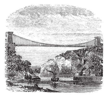 samaritans: Clifton Suspension Bridge, in Clifton, Bristol to Leigh Woods, North Somerset, England, during the 1890s, vintage engraving. Old engraved illustration of the Clifton Suspension Bridge.